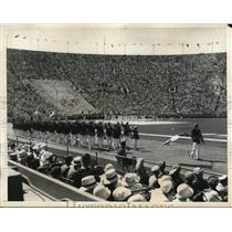 1932 Press Photo French athletes marching in opening Olympic ceremony in L.A.