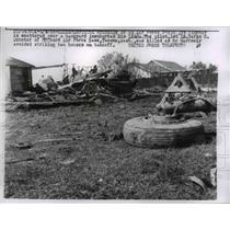 1958 Press Photo Wreckage of Air Force F-102 Jet Fighter