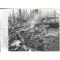 1970 Wire Photo The wreckage of the plane in which Walter Reuther lost life