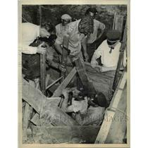 1936 Press Photo Earl Hartwell Rescued After Well Cave-In, Massachusetts