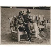 1923 Press Photo On the Tennis Courts with Friend Smoking Pipe