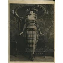 1918 Press Photo Grey Chiffon Long Drape Style Dress & Velvet Horizontal Stripes