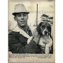 1966 Press Photo Mets 2nd baseman Ron Hunt & his dog Prince at St Louis