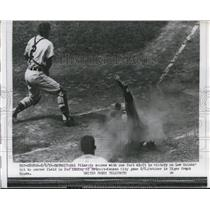 1956 Press Photo Kansas City's Hal Pilacrik scores vs Tigers Frank House
