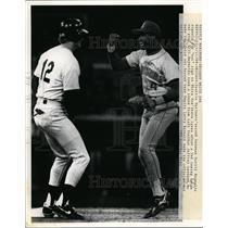 1969 Press Photo Mariners Harold Reynolds vs White Sox Steve Lyons at Chicago