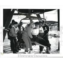 1988 Press Photo Dale Norris on the chair lift at Boston Mills ski lift