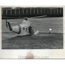 1967 Press Photo Method of Coast Guard rescue employs use of steel platform