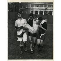 1935 Press Photo Cliff Jones of Cambridge soccer injured at game vs Harvard