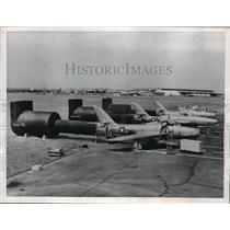 1956 Press Photo F-84 Thunderstreaks during engine tests - neb42805