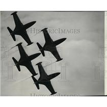 1953 Press Photo Blue Angels F9F Panther Jets overhead a formation at Geiger
