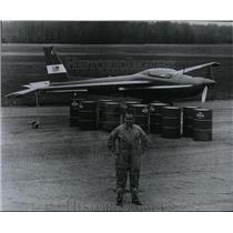 1967 Press Photo James R Bede front of 10 barrels of gasoline & his BD-2 plane