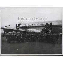 1945 Press Photo A PCA DC-4 flight lands in NYC from flight from Paris