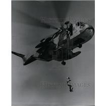 1968 Press Photo Air Force CH3E helicopter land gravity surveys Northern Idaho