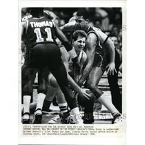 1988 Press Photo Celtic's Danny Ainge vs Piston's Isiah Thomas, James Edwards