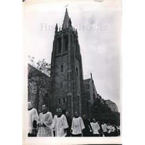1966 Press Photo Arch. Hober funereal procession at St. Johns Cathedral