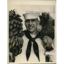 1928 Press Photo John J Vogel fireman of USN on USS Memphis in Guam