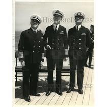 1935 Press Photo Adm Harris Laning, Adm Joseph Reeves and Vice Adm AJ Hepburn