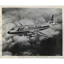 1957 Press Photo Capital's 60th Viscount under test above England - mja01500