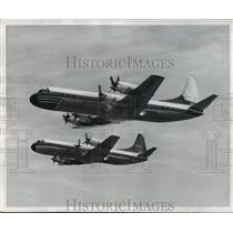 1958 Press Photo Lockheed's first two Electras climb high over Southern Cal