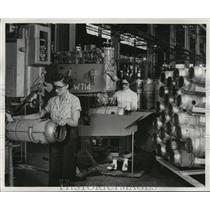 1952 Press Photo These hot parts for Air Force jet engines resemble the milk can