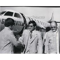 1978 Press Photo Tom Souman Jr. after his arrival through Gem State Airlines