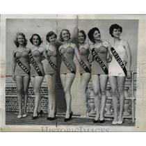 1950 Press Photo Miss Wisconsin Gloria Lange in Miss America pageant
