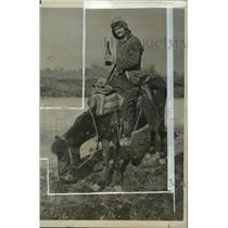 1927 Press Photo Donkey & master on a donkey in Tirana, Albania  - mja05091