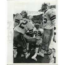 Press Photo Dallas Cowboys football players on their bench at a game
