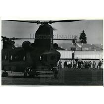 1990 Press Photo CH47 Chinook at Coeur d'Alene High School to promote Army
