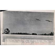 1949 Press Photo Army  F-80 plane explodes on manuevers at Miami Florida