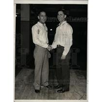 1934 Press Photo Joe Falcaro, Pete Mercurio at bowling matches - net09509