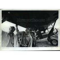 1972 Press Photo John shows Ronnie a 1928 lift-strut Bellanca monoplane