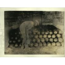 1920 Press Photo Watermelons Being Treated with Disinfectant Paste - ney15904