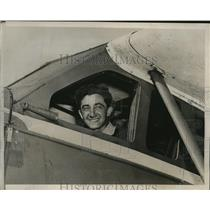 1939 Press Photo Pilot Alex Loeb in Ryan Monoplane Before Trans-Atlantic Flight