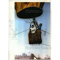1994 Press Photo Joan Marley, dressed like a cat, in a hot air balloon