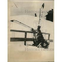 1923 Press Photo Miss Stoop falls while ski-steeplechasing at St. Moritz