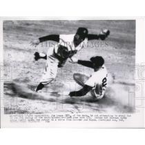 1956 Press Photo Jim Lemon of Nats out at 2nd vs Indians Bobby Avilla