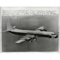 1958 Press Photo Northwest Orient Electra Prop-Jet Airliner Plane - ney19539