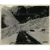 1924 Press Photo Rotary plows clear Alaska road of snow drifts - net21958