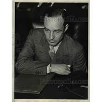 1934 Press Photo Edsel Ford Testified Before Senate Banking & Currency Committee