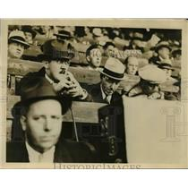 1935 Press Photo Ford Bond, Graham McNamee covering a football game - net24336