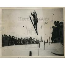 1924 Press Photo ski jumping event in Cortina d'Ampezzo, Italy - net24586