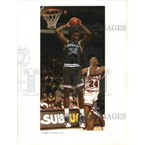 Press Photo Orlando Magic star Shaquille O'Neal grabs a rebound - nes52246