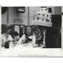 1957 Press Photo New Orleans Mardi Gras cake hat - noca00101