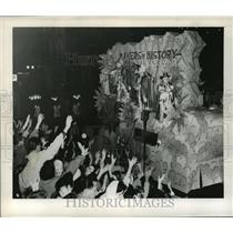 1957 Press Photo Makers of History Theme Float for Knights of Babylon Mardi Gras