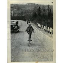 1936 Press Photo Coasting Uphill in Wilton ME