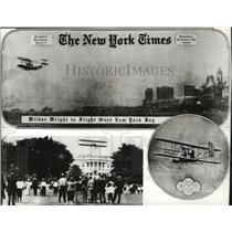 Press Photo Orville & Wilburn Wright Fly Over NY Bay and White House