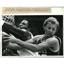 1983 Wire Photo Boston's Larry Bird Grabs Rebound from Cleveland Lonnie Shelton