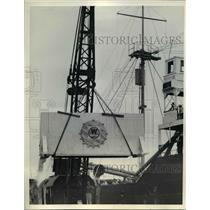 1938 Press Photo Mount Palomar Observatory Telescope Equipment Being Unloaded