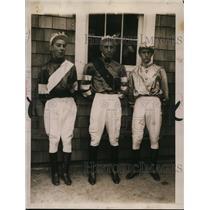 1922 Press Photo Jockeys Lang, Morris & Thomas at a track for a race - net28264